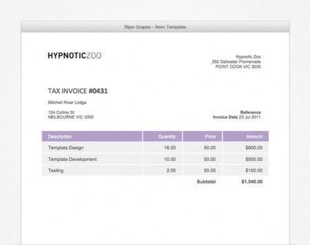 Ripe-grapes Xero Invoice Template Xero Templates, Xero Accounts - invoice sample australia