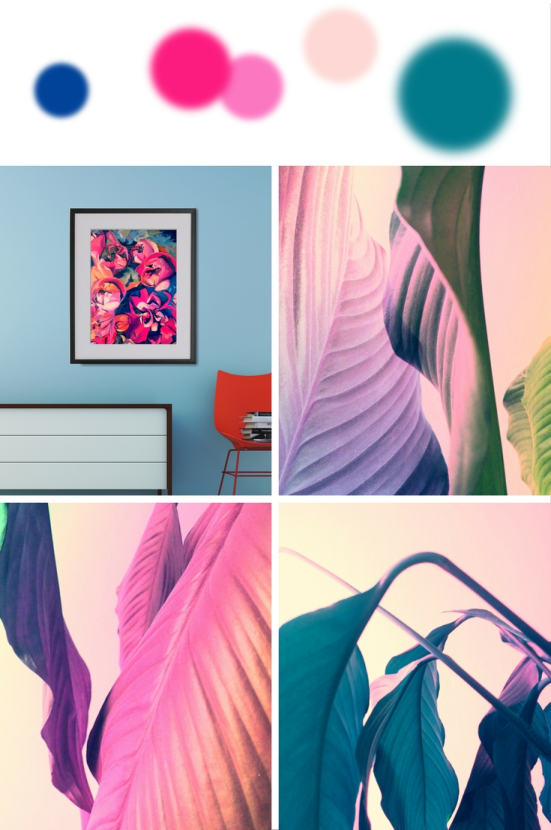 Bright color palette inspired by abstract flower painting and modern ...