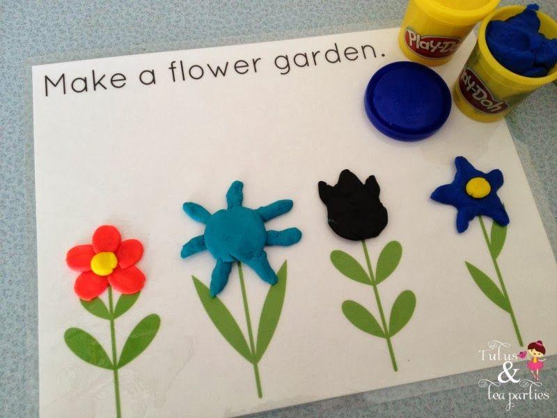 DIY Play Dough Mats | Free Printables -Feed monster -Flower Garden ...