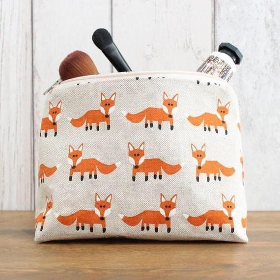 Fox Fabric Zipped Pouch, Makeup Bag, Gadget Case