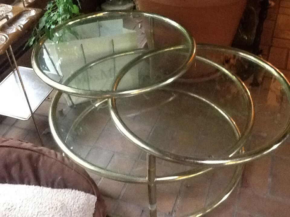 vtg hollywood regency 3 tier round swivel glass coffee table mid