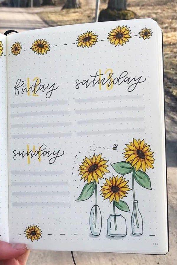 25+ Best Sunflower Bullet Journal Spreads For 2020