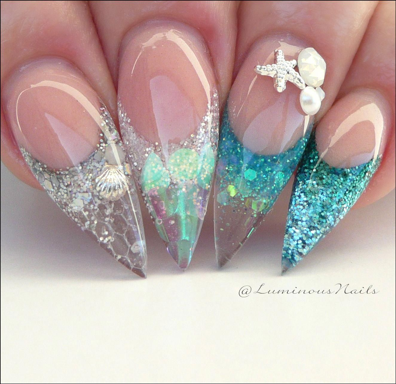 Gorgeous Mermaid Nails. Sculptured Acrylic Stiletto Nails. #mermaidnails - drorage.thevergebrand.com