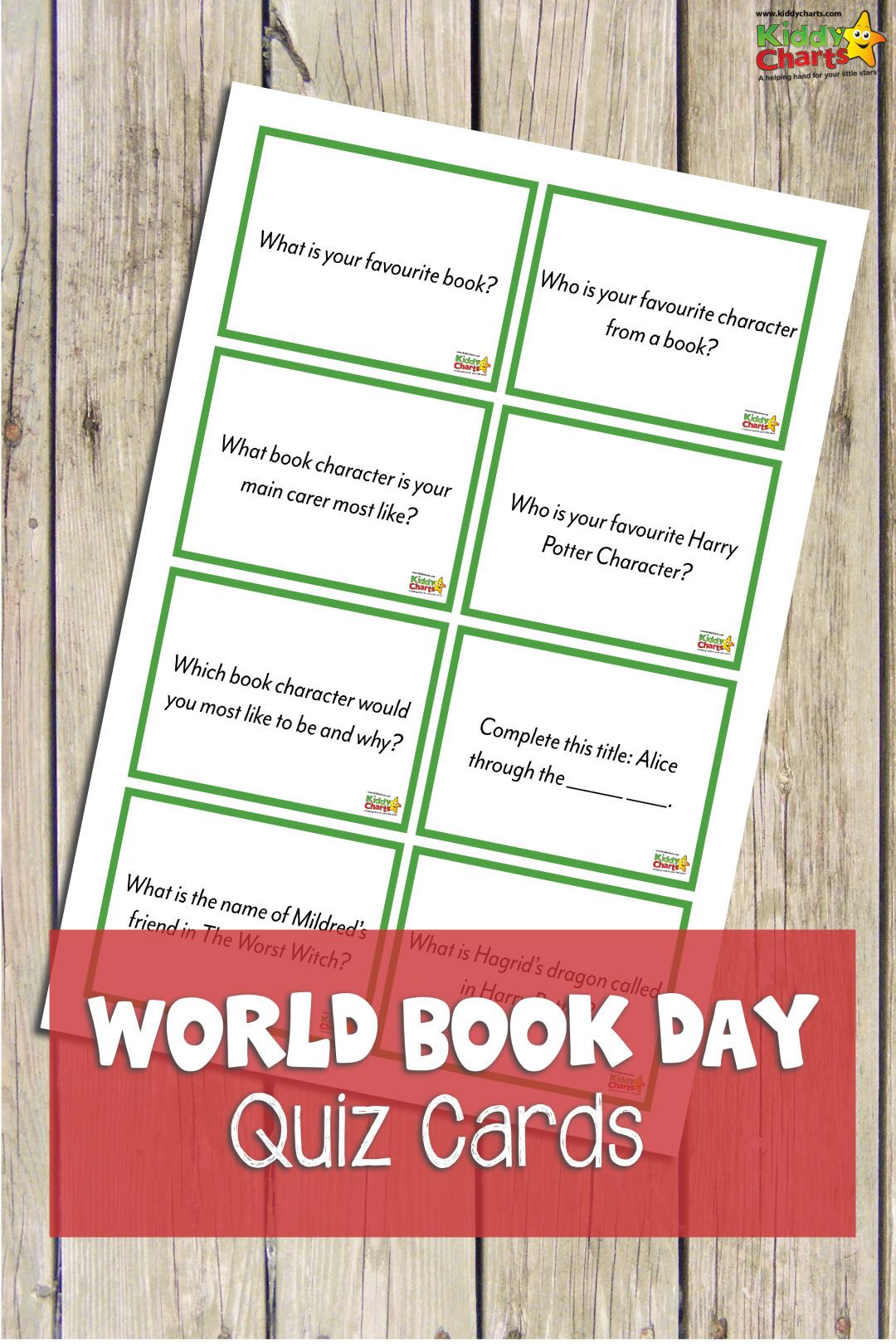 Eight World Book Day Quiz Cards