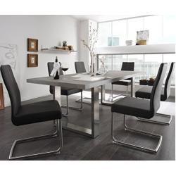 Küchentisch Sukita Beton-Optik 180x100cm Standbeine Edelstahl Esstisch