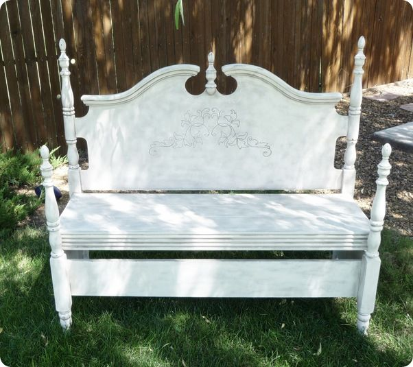 Antique Headboard Bench: Pediment Headboard Bench From Twice Lovely