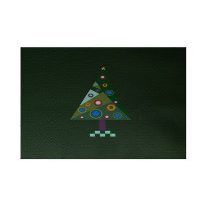 e by design Crazy Christmas Decorative Holiday Print Dark Green Indoor/Outdoor Area Rug Rug Size: