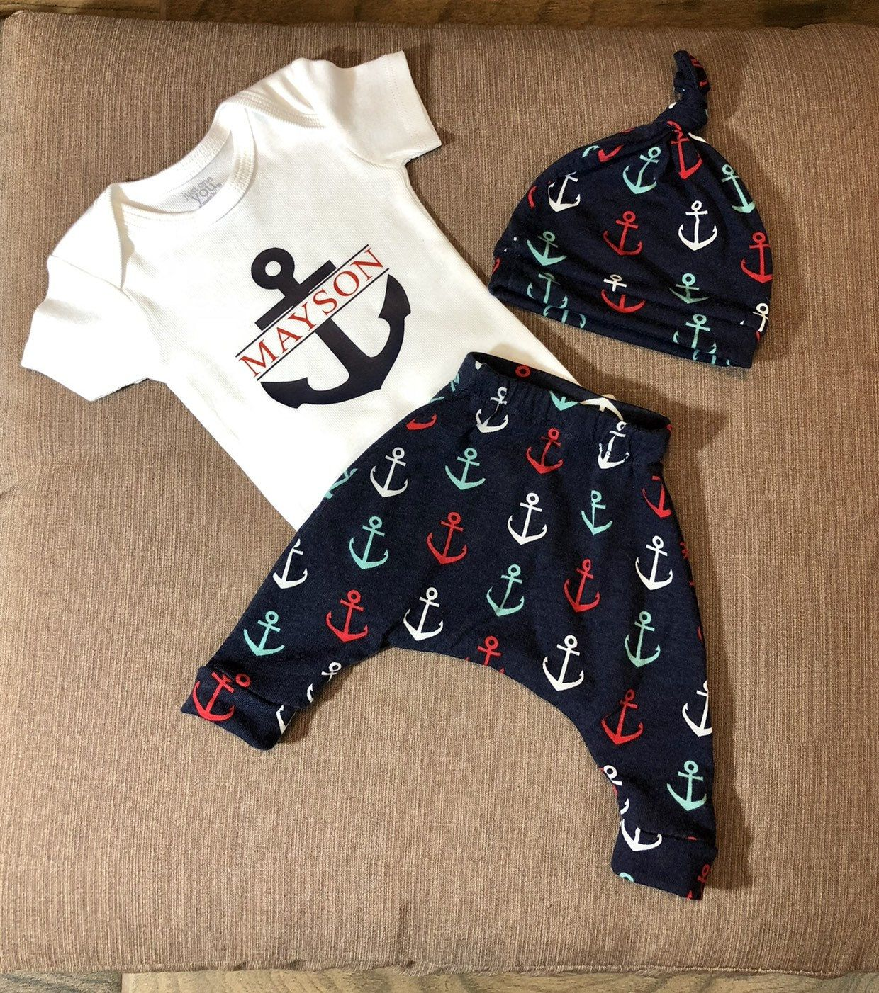 93b08245b Anchor Baby Boy Going Home Outfit, Welcome, Newborn Boy Take Home Outfit,  Newborn pictures, Boy Clothing, Personalized Baby Gift by  BeyondBowsByNathalie on ...