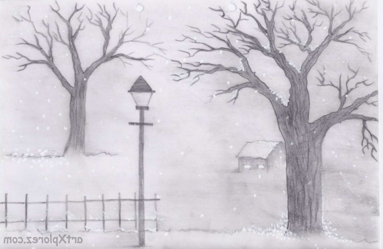 Pictures For Drawing Landscapes For Beginners Pencil Sketch