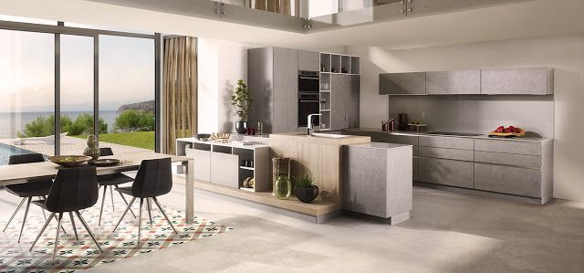 Cuisine moderne Schmidt gris béton kitchen dining Pinterest