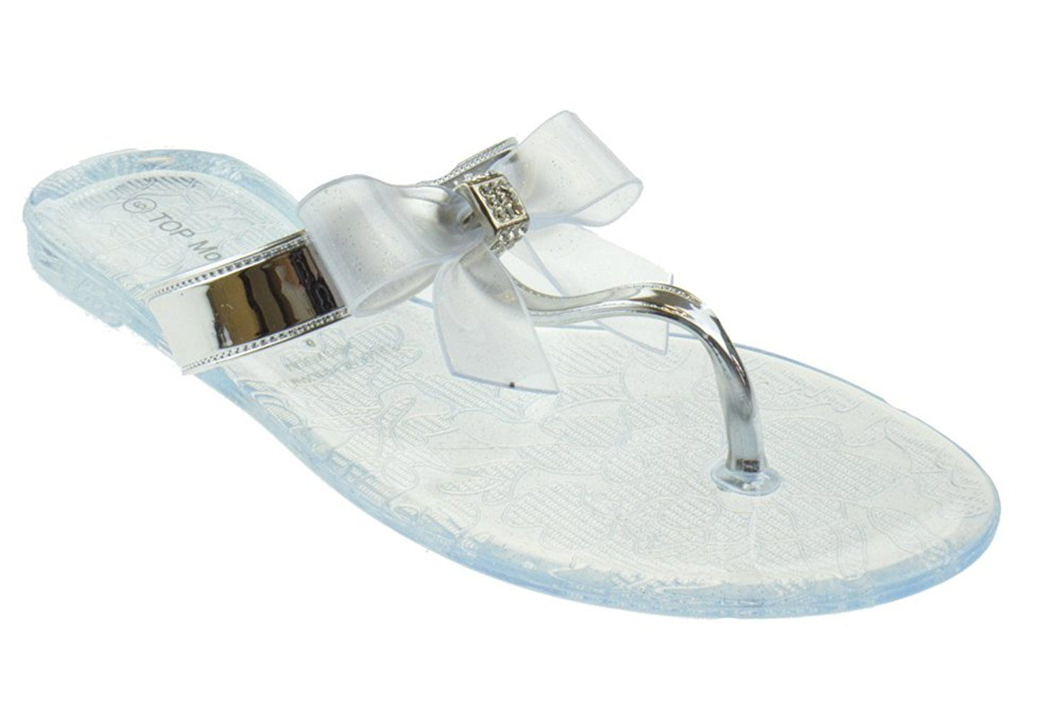 51b63ecb7bb67f BF 2 Jelly Bow Rhinestone Flip Flop Comfort Flat Sandals Clear    You can  get