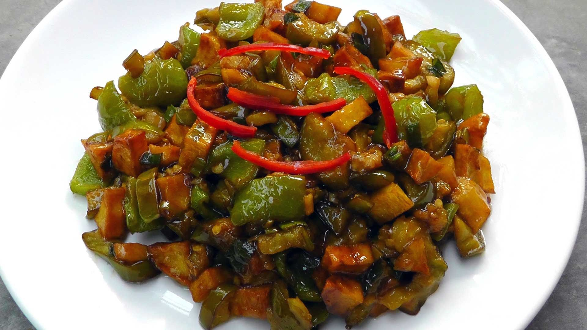 Vegan vegetarian chinese recipe di san xian httpquick1ykh vegetarian vegan chinese recipe di san xian fried potatoes eggplant and bell pepper food ingredients 1 eggplant cut 1 cup potatoes peeled and cut 1 forumfinder Image collections