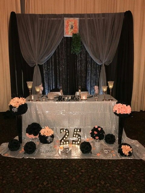 Peach And Black Sweetheart Table Setup 25th Anniversary