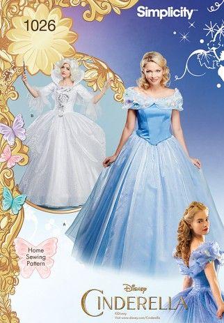Simplicity Ladies Sewing Pattern 1026 Disney Cinderella Dresses ...