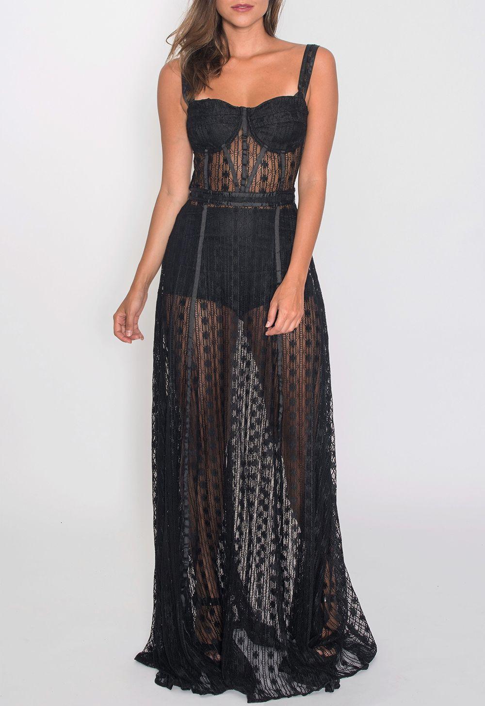 5a0f04f5a1 Vestido longo todo em renda transparente. Possui parte superior estilo  corselet com aro no busto