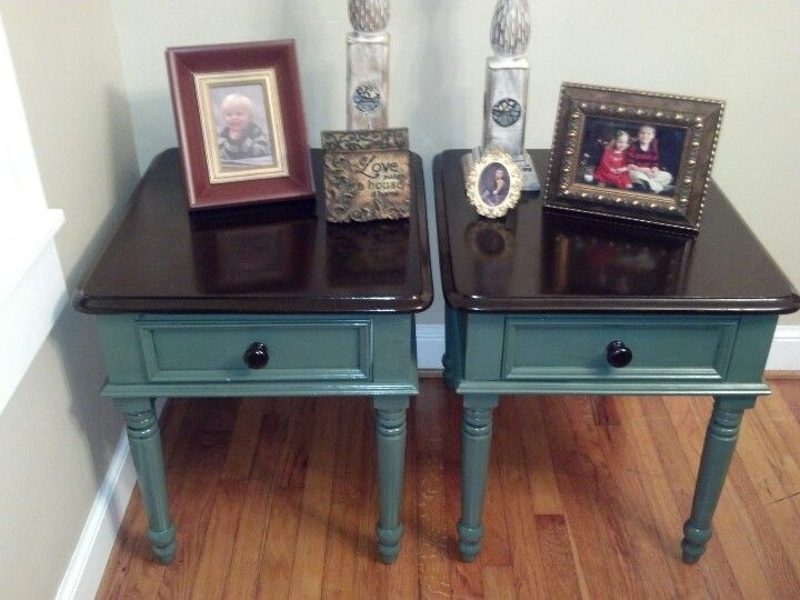 Yard Sale Old Wooden End Tables Refurbished Into 2 Tone Gorgeous