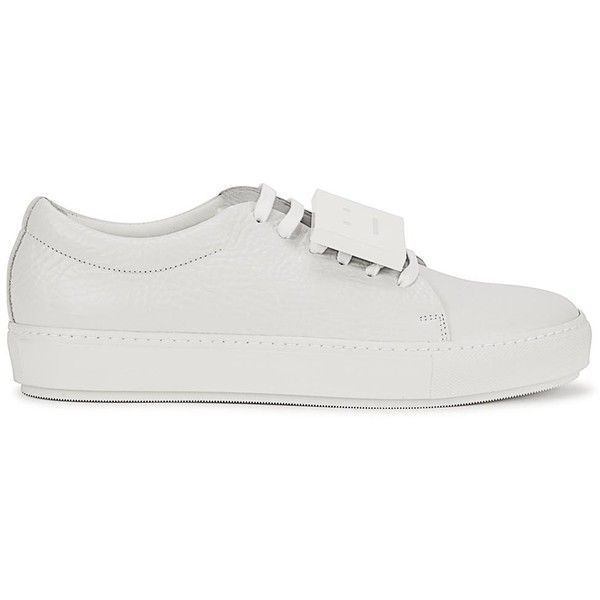 Womens Low-Top Trainers Acne Studios Adriana White Pebbled Leather... (£260) ❤ liked on Polyvore featuring shoes, sneakers, white shoes, low profile shoes, white low tops, laced shoes and white low top sneakers