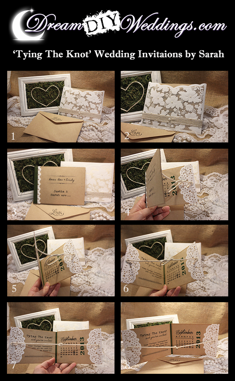 Interactive \'Tying The Knot\' DIY Wedding Invitations or Save The ...