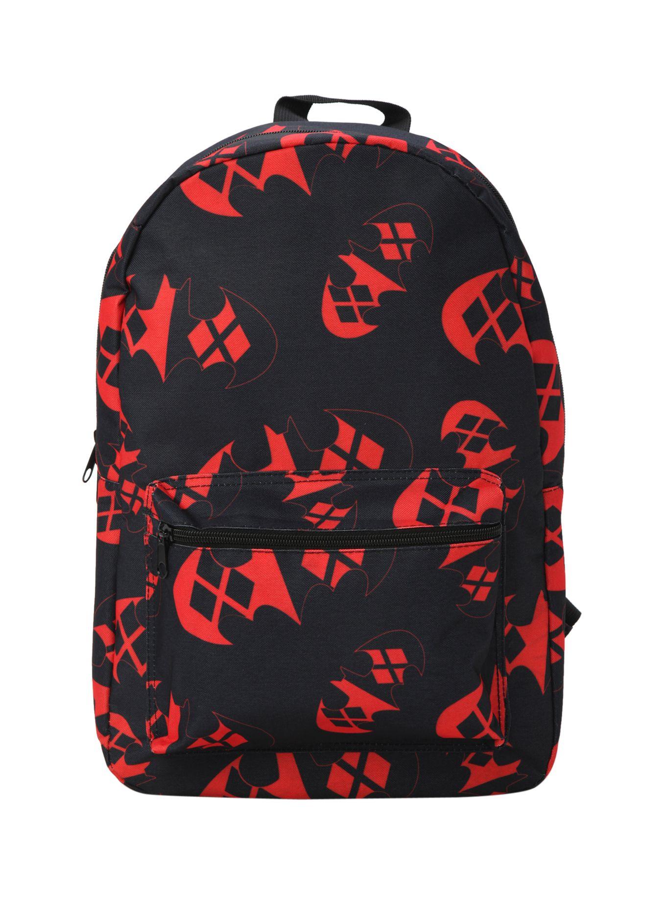 dc ics harley quinn batman logo backpack hot topic harley