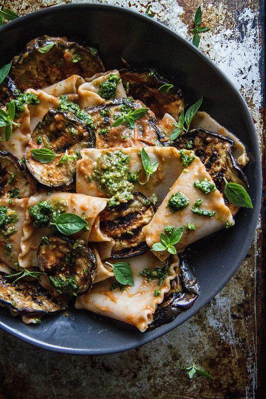 Pasta With Grilled Eggplant Smoky Tomato Sauce And Basil Walnut Pistou Heather Christo Vegetarian Pasta Recipes Healthy Recipes Food