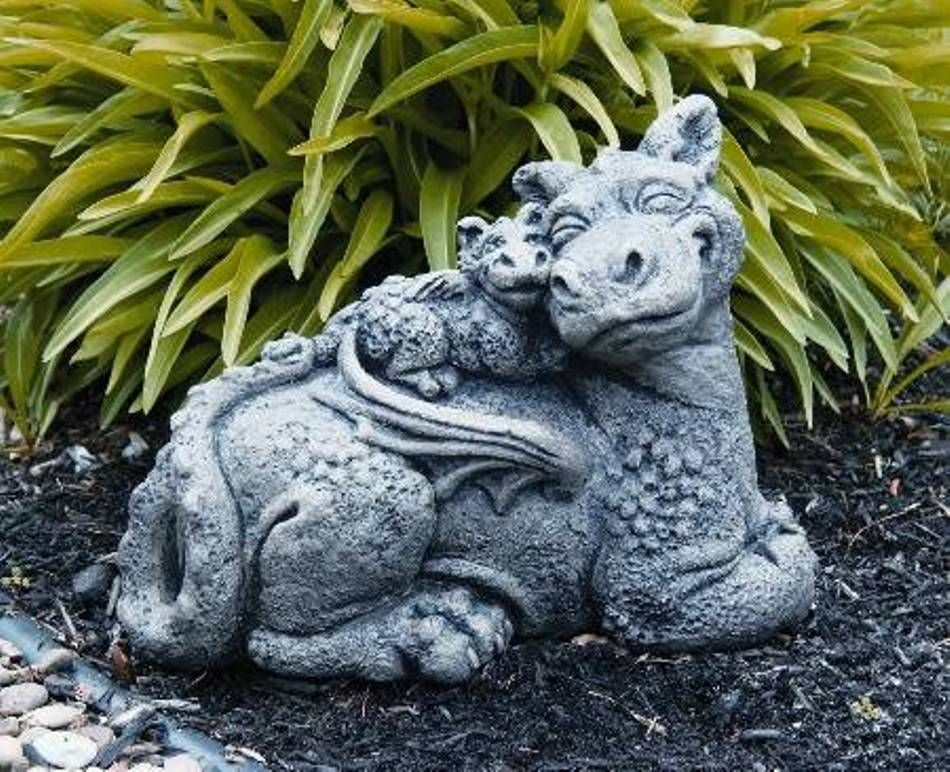 Great Garden And Lawn , Dragon Garden Statue : Sweet Family Dragon Garden Statue