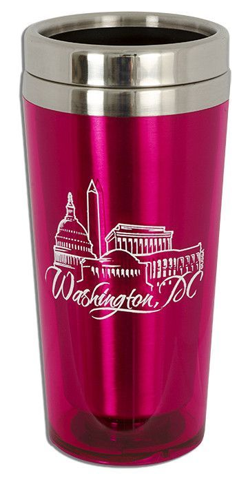 PMDC03P Insulated Stainless Mug Washington DC Hot Pink