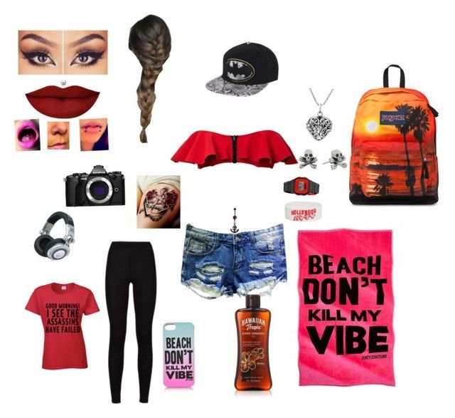 """Haley's beach"" by middletonhaley-1 on Polyvore featuring Olympus, Lisa Marie Fernandez, Anastasia Beverly Hills, Juicy Couture, Neff, Panasonic, JanSport, King Baby Studio and AeraVida"