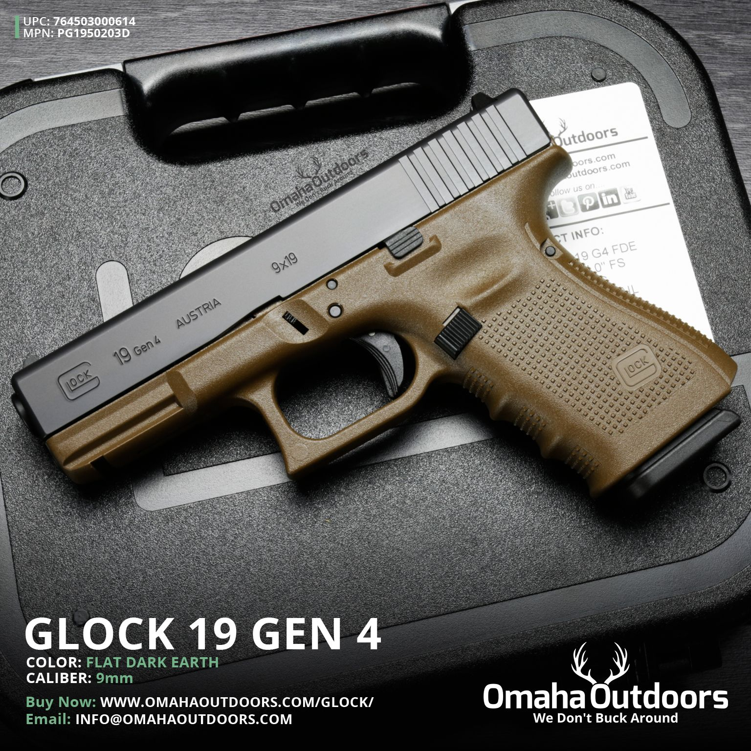 Glock 19 Gen 4 FDE / Tan 9mm 15 4″ Handgun - Omaha Outdoors ...