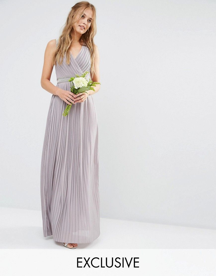 Image 1 of tfnc wedding pleated embellished maxi dress wedding shop our collection of bridesmaid dresses in stunning maxi embellished and strapless styles find your bridesmaid dress to stand out on the special day ombrellifo Images