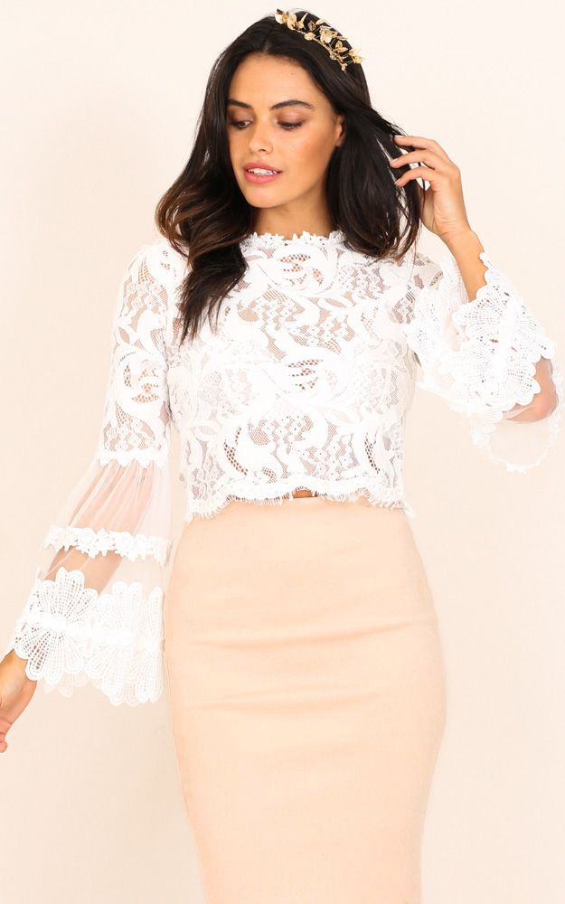 166ce28f58 Showpo Free Spirit top in white lace - 8 (S) Long Sleeve