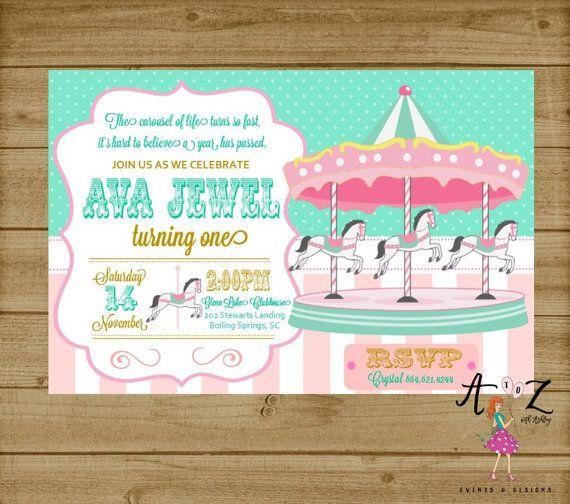 Carousel Birthday Invitation Carnival by AtoZwithAshleyEvents