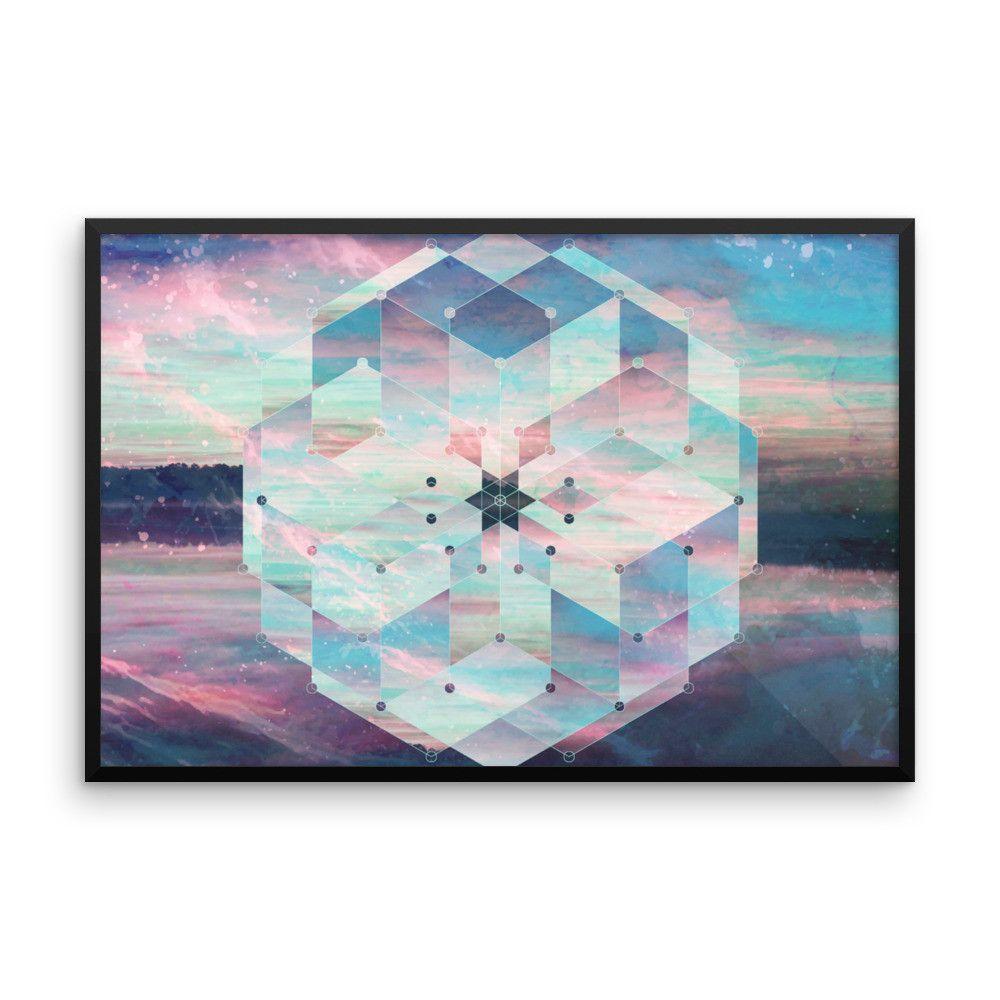 Framed Water Mandala Teal Art Print Yoga Meditation Mandala Design