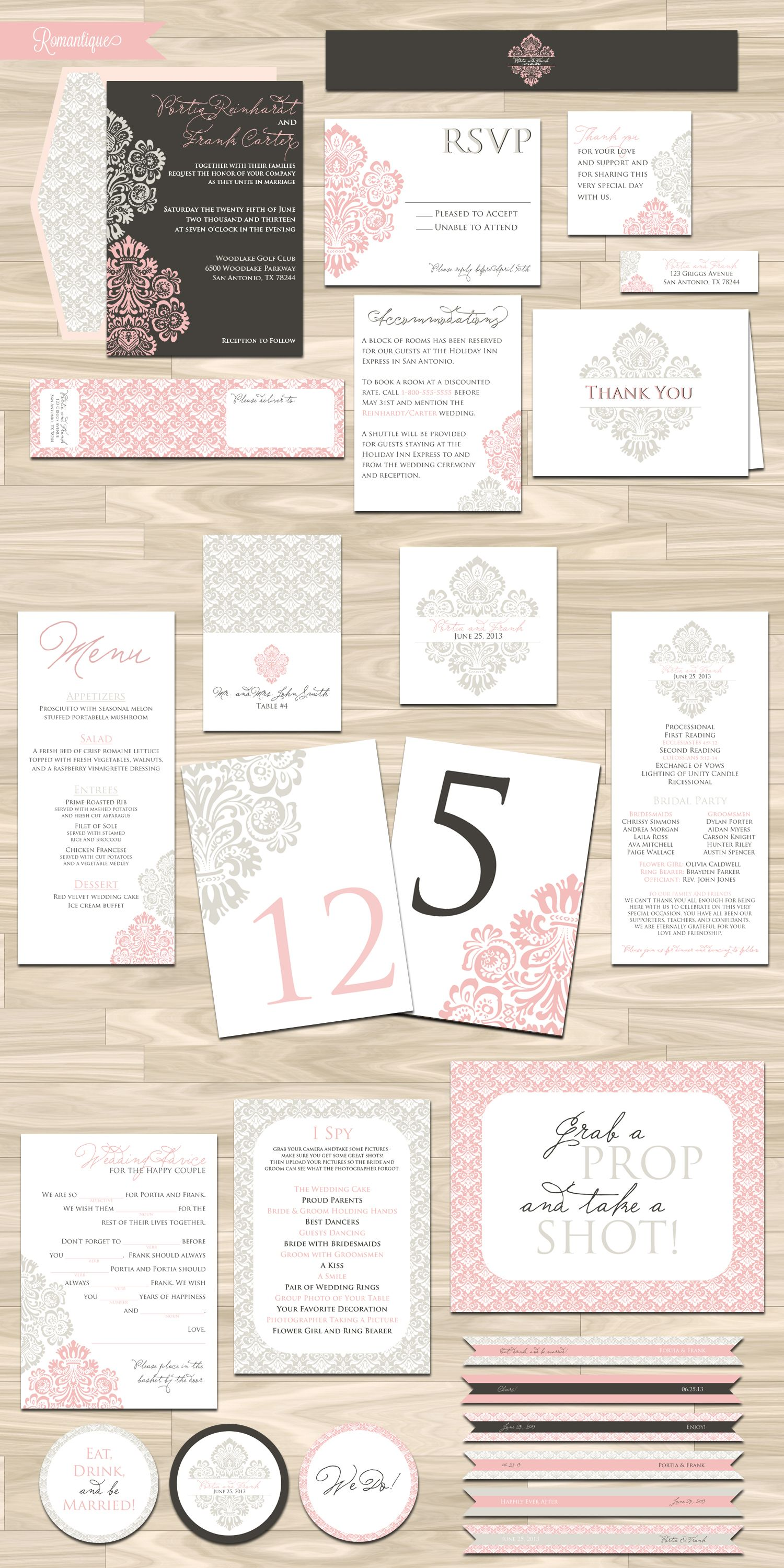Wedding Invitation and RSVP Card (Romantique) - Digital File ...
