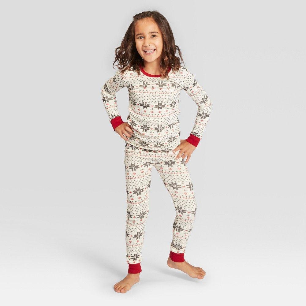 4faf831223cb Burt's Bees Baby Kid's Holiday Snowflake Pajama Set - Ivory L(12/14), Kids  Unisex, Size: L(12-14), White