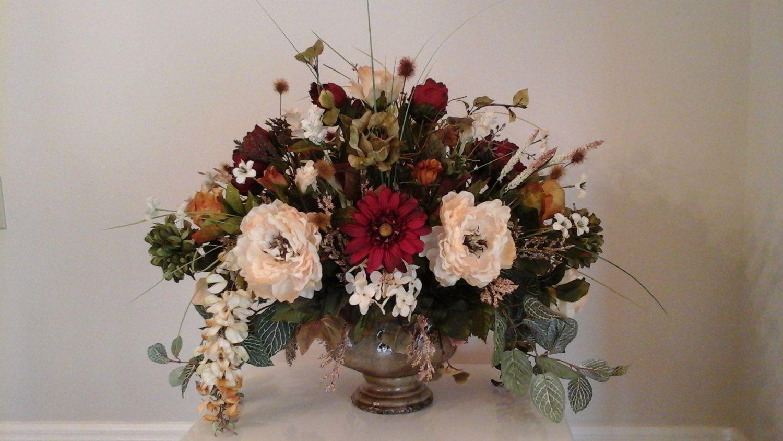 Floral Arrangement Tuscan Floral Centerpiece Shipping Included Elegant Large Modern Silk Flo Faux Floral Arrangement Floral Arrangements Floral Centerpieces