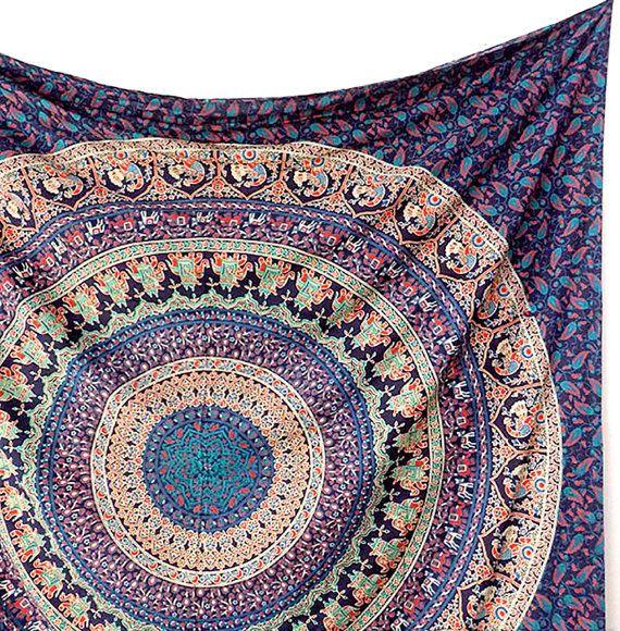 Fait à la main coton tissu éléphant Mandala par FabricSarmaya
