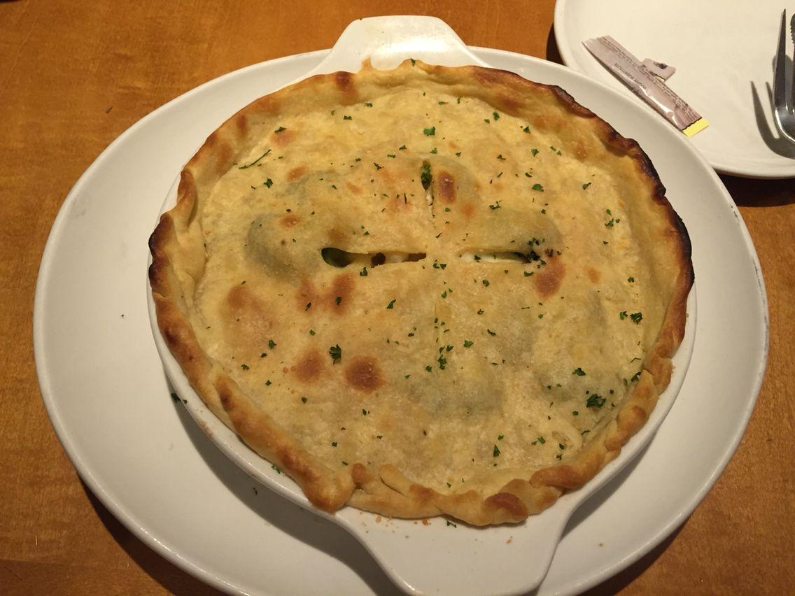 Olive\'s Garden- Chicken, Broccoli and pasta pot pie.. Crispy ...