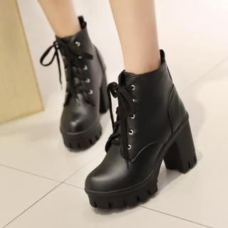 Buy 'Colorful Shoes – Lace-Up Chunky-Heel Ankle Boots' with Free ...