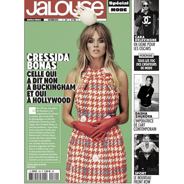 cressida bonas is jalouse magazine s cover girl for their october issue on stands tomorrow