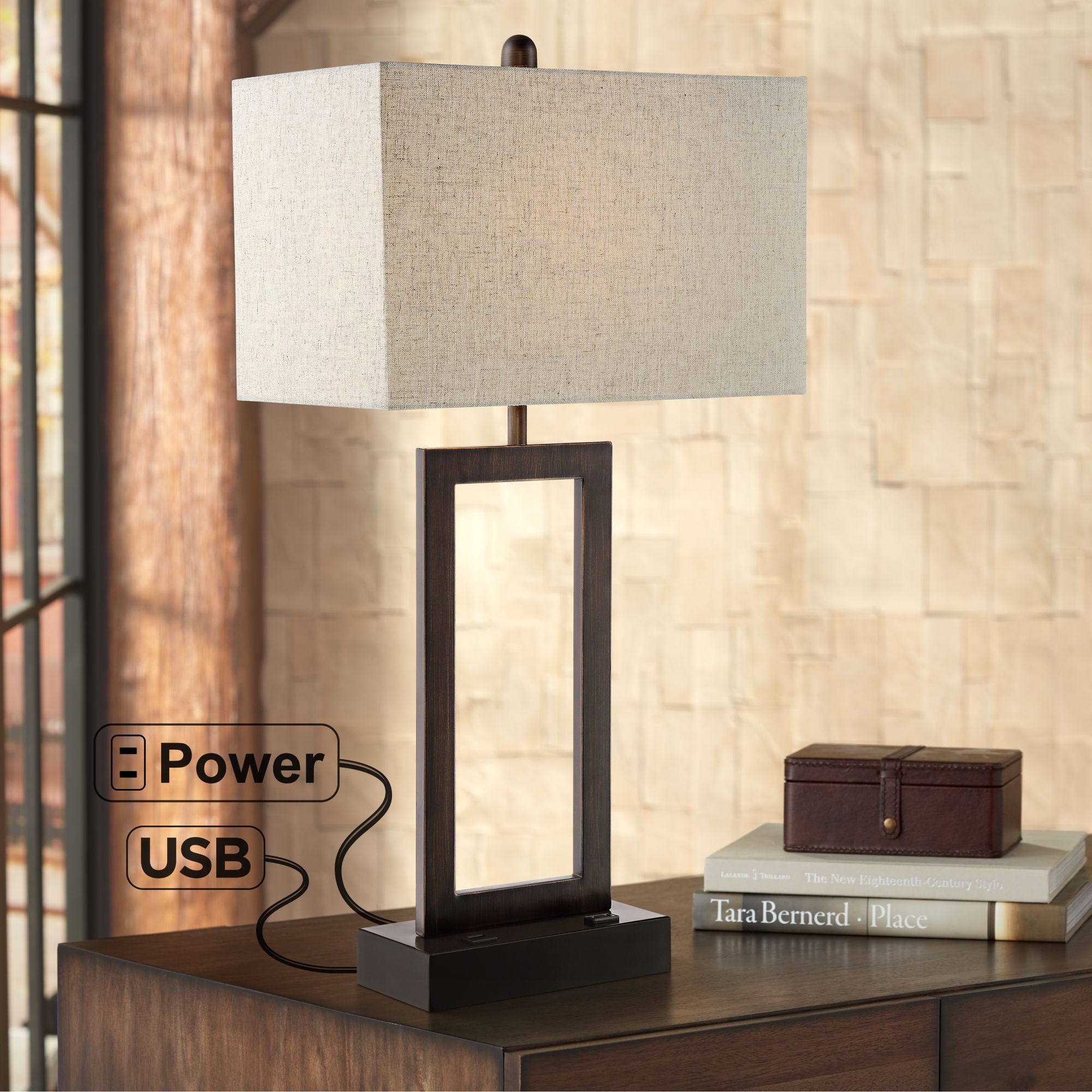 360 Lighting Modern Table Lamp With Usb And Ac Power Outlet In Base Bronze Rectangular Oatmeal Fabric Shade For Living Room Office Walmart Com In 2020 Metal Table Lamps Modern Table
