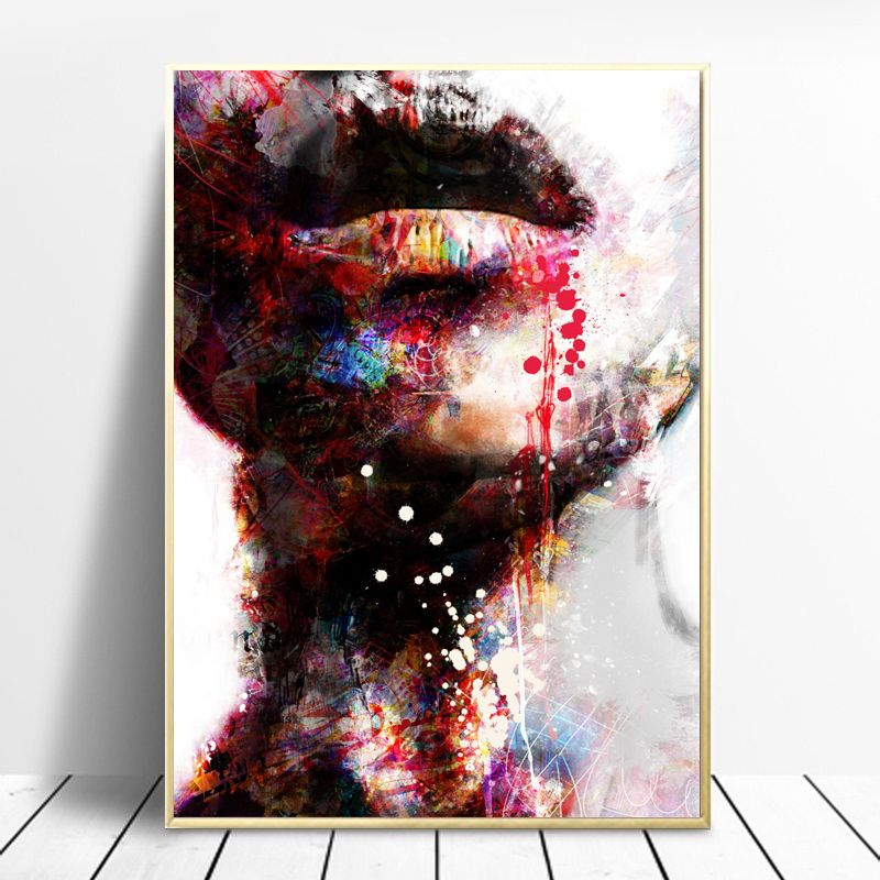 Graffiti Face Canvas Painting Colorful Wall Art Picture Artwork