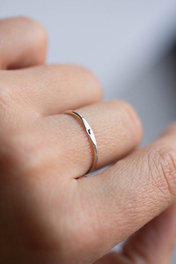 USA 14k Solid Gold Thin Rings -Simple and Minimalist Rings -Free Shipping Gold Stacking Rings Gold Half Round Bar Ring