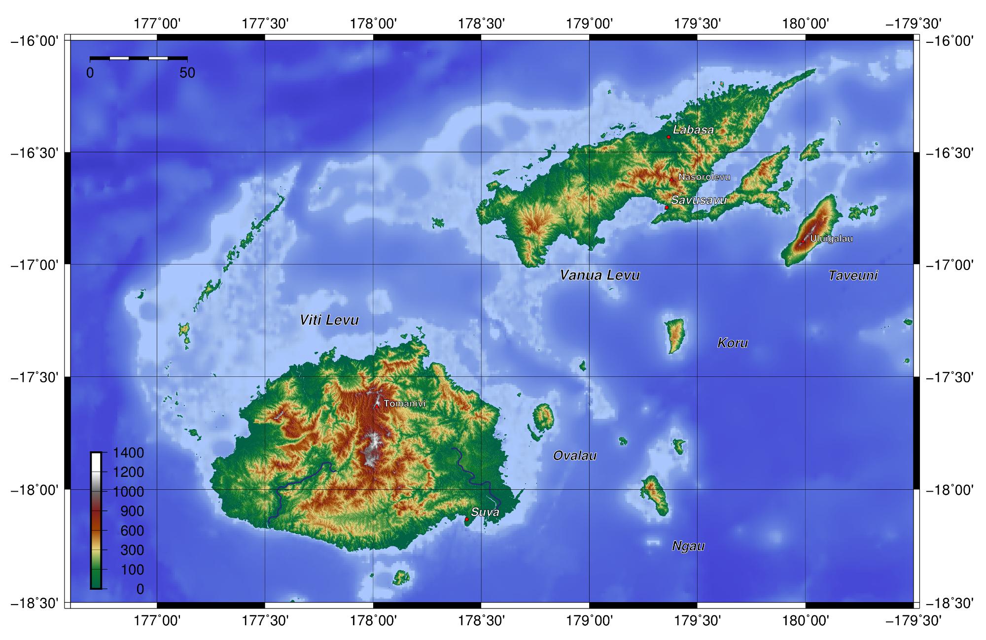 Topographic Map Of Fiji International Day Pinterest