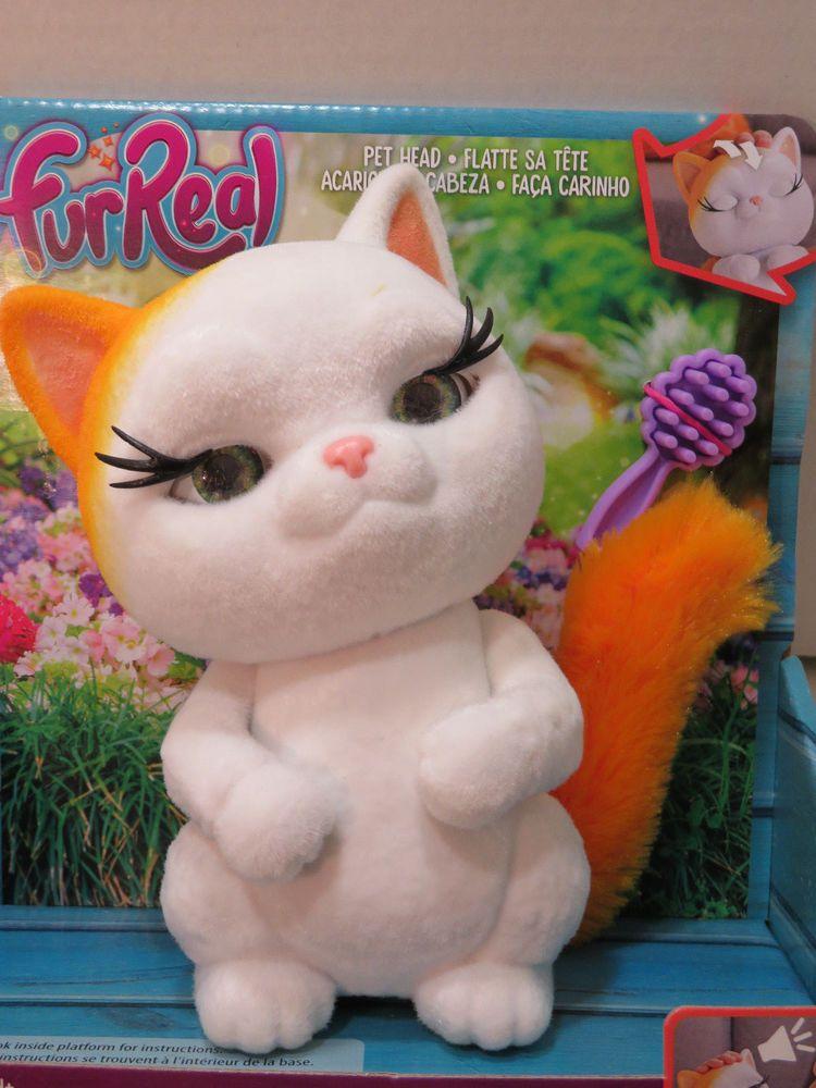 Furreal Fuzz Pets Fabulous White Cat Eyes Head Move Kitty Sounds