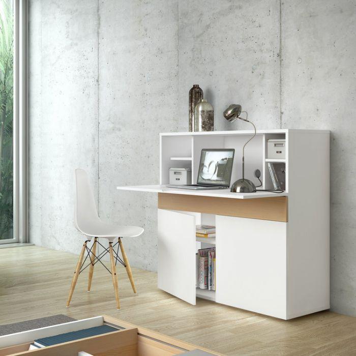 bureau secretaire en bois placage chene et blanc mat l110cm focus