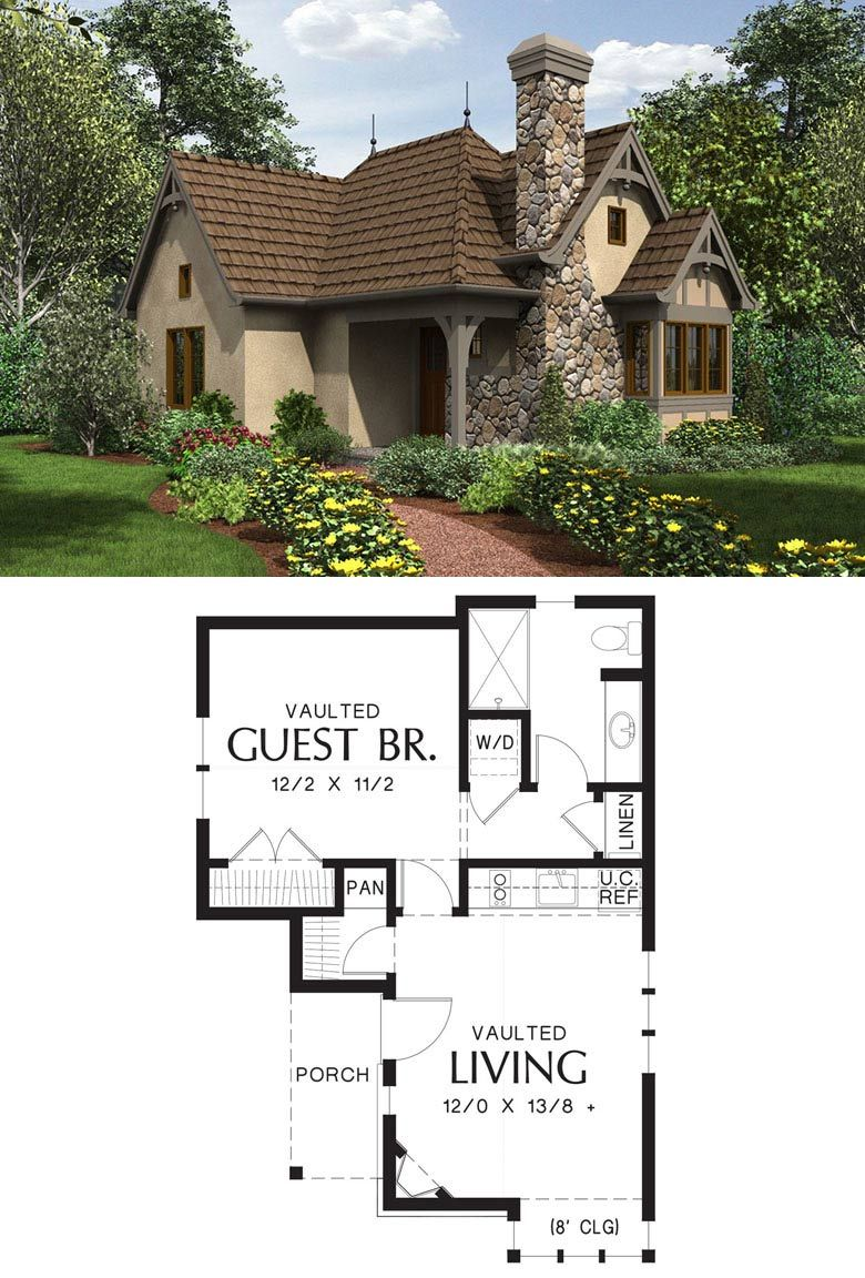 Guest Cottage Or My Vacation Home If I Want To Disappear For A Couple Of Days Cottage House Plans Cottage Floor Plans Tiny House Floor Plans