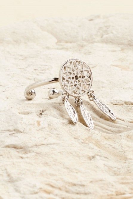 Metal Feather Dreamcatcher Ring - Earthbound Trading Co.