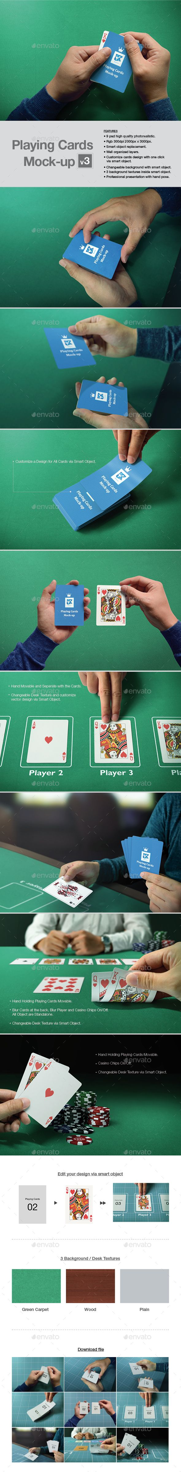 Playing Cards Mock Up Mockup Photoshop Photos Event Flyer Templates Presentation