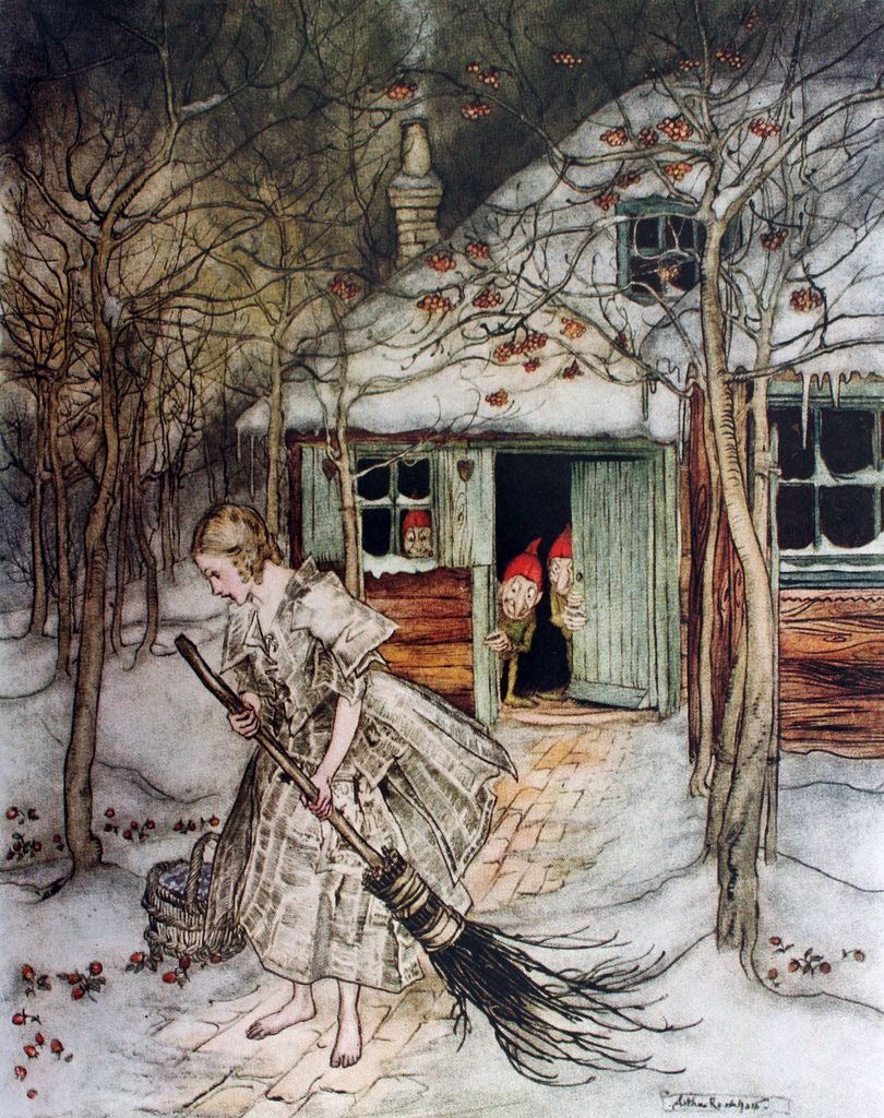 """What did she find there? ... but real ripe strawberries. """"Little Brother & Little Sister"""" (1917) illustrated by Arthur Rackham"""