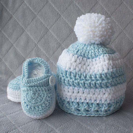 Niño sistema, sistema del ganchillo bebé niño sombrero y botines ...